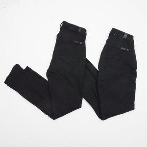 2 Pairs 7 For All Mankind Kimmie Crop Jeans Black
